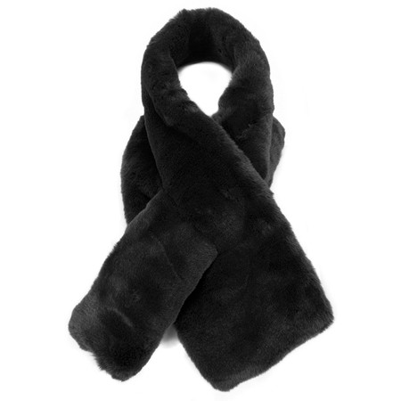 RINO AND PELLE Super Soft Faux Fur Scarf - Black