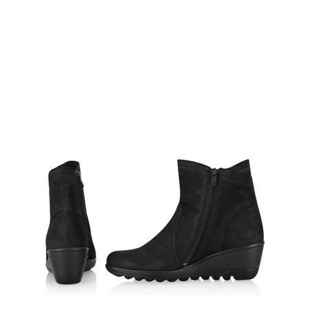 Gemini Label Susan Casual Wedge Ankle Boot - Black