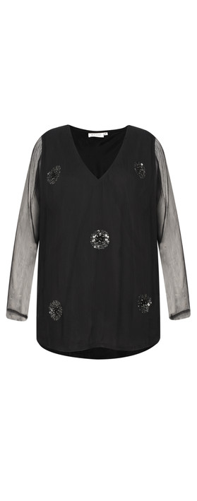 Masai Clothing Betty Sequin Spot Top Black