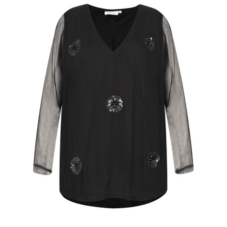 Masai Clothing Betty Sequin Spot Top - Black