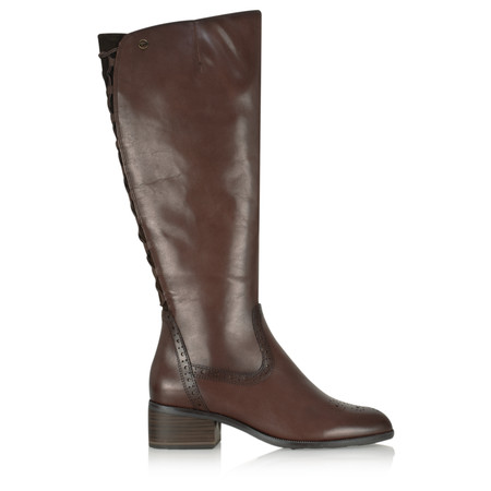 Tamaris  Beatrix Long Lace Back Boot - Brown