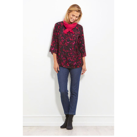 Masai Clothing Berla Abstract Floral Print Top - Red