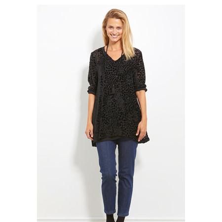 Masai Clothing Gyrit Velvet Leopard Print Tunic - Black