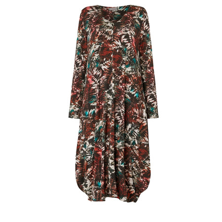 Sahara Leaf Print Jersey Dress - Multicoloured