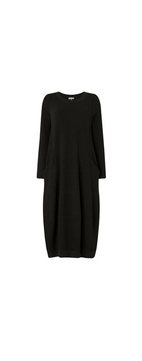 Sahara Textured Jersey Bubble Dress Black