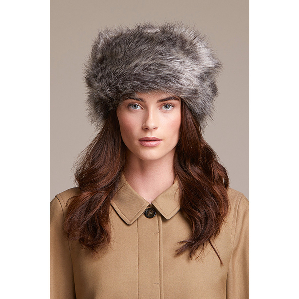 Helen Moore Pillbox Faux Fur Hat Lady Grey