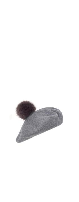 Helen Moore Pom Pom Faux Fur Beret Grey/Steel