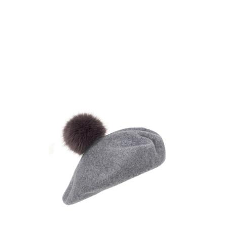 Helen Moore Pom Pom Faux Fur Beret - Grey