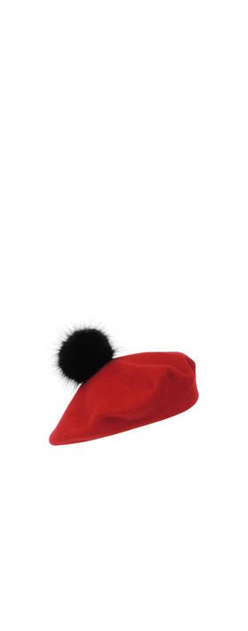 Helen Moore Pom Pom Faux Fur Beret Red/Jet