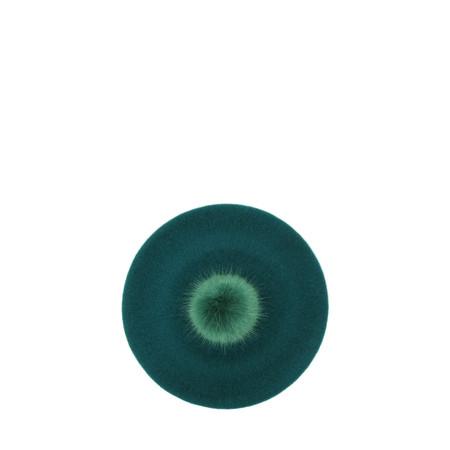 Helen Moore Pom Pom Faux Fur Beret - Green