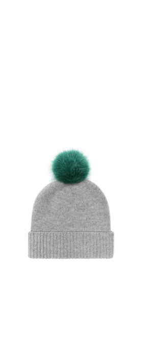 Helen Moore Cashmere Faux Fur Pom Pom Beanie Mid Grey/Sea Green