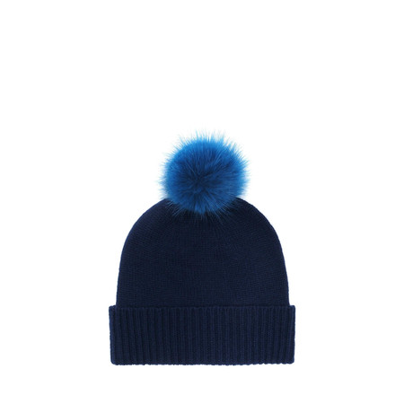 Helen Moore Cashmere Faux Fur Pom Pom Beanie - Blue
