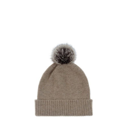 Helen Moore Cashmere Faux Fur Pom Pom Beanie - Brown