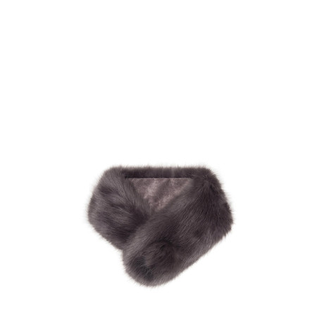 Helen Moore Pom Button Faux Fur Collar - Grey
