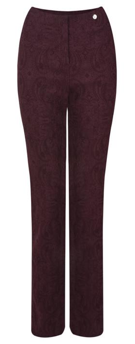 Robell Trousers Rose Jacquard Full Length Trouser Bordeaux