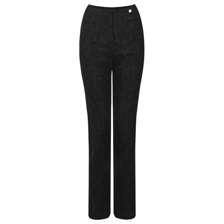 Robell Trousers Rose Jacquard Full Length Trouser - Black