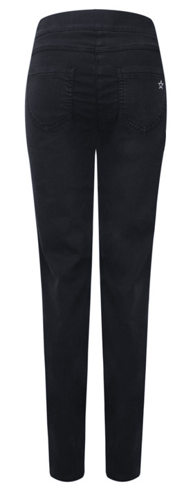 Robell Trousers Nena Faux Suede Full Length Trouser Navy