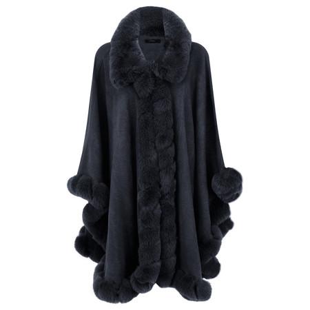 Fenella  Marla Fur Trim Oversized Poncho Cape - Blue