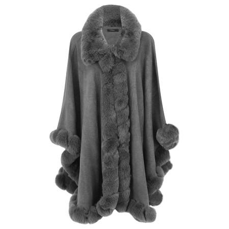 Fenella  Marla Fur Trim Oversized Poncho Cape - Black