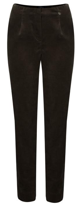 Robell Trousers Marie Stretch Cotton Velvet Slim Full Length Trouser 38 Brown