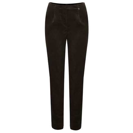 Robell  Marie Stretch Cotton Velvet Slim Full Length Trouser - Brown