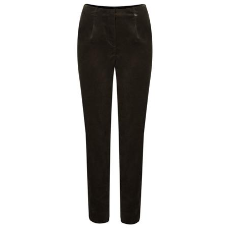 Robell Trousers Marie Stretch Cotton Velvet Slim Full Length Trouser - Brown