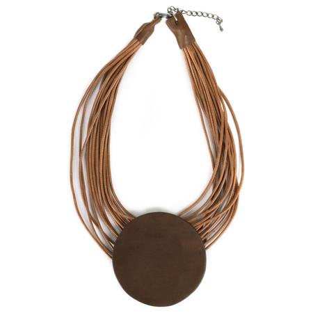 NOUV-ELLE Toremi Circle Pendant Necklace - Brown