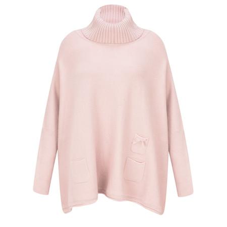 Fenella  Linzy Roll Neck Oversized Knit Jumper - Pink