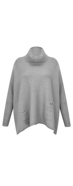 Fenella  Linzy Roll Neck Oversized Knit Jumper Mid Grey