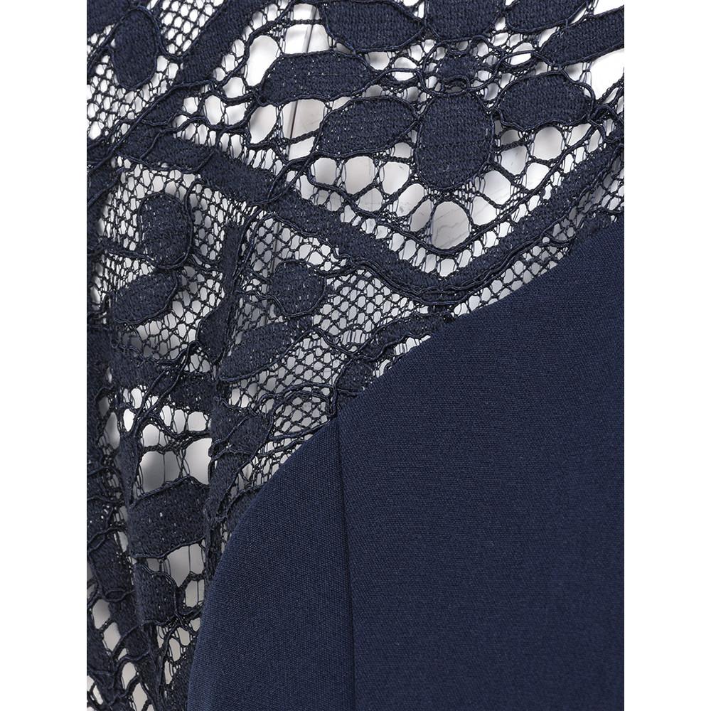 Smashed Lemon Lace Shoulder Dress Navy