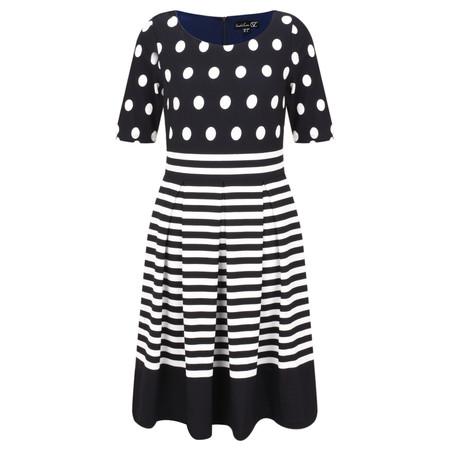 Smashed Lemon Spot and Stripe Dress - Blue