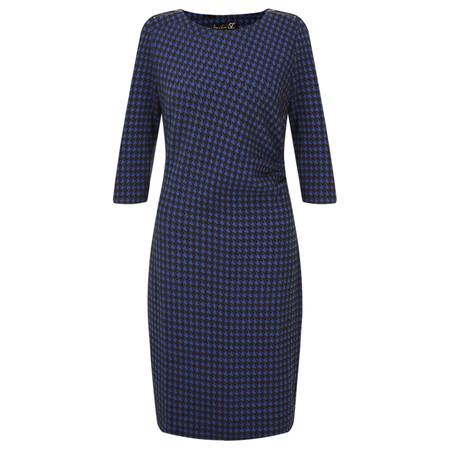 Smashed Lemon Dogtooth Zip Shoulder Dress - Blue