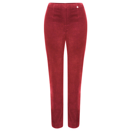 Robell Trousers Marie Stretch Cotton Velvet Slim Full Length Trouser - Red