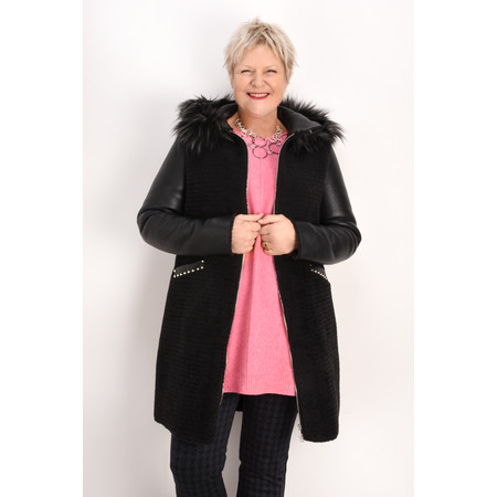RINO AND PELLE Faux Fur Leather Hooded Coat - Black