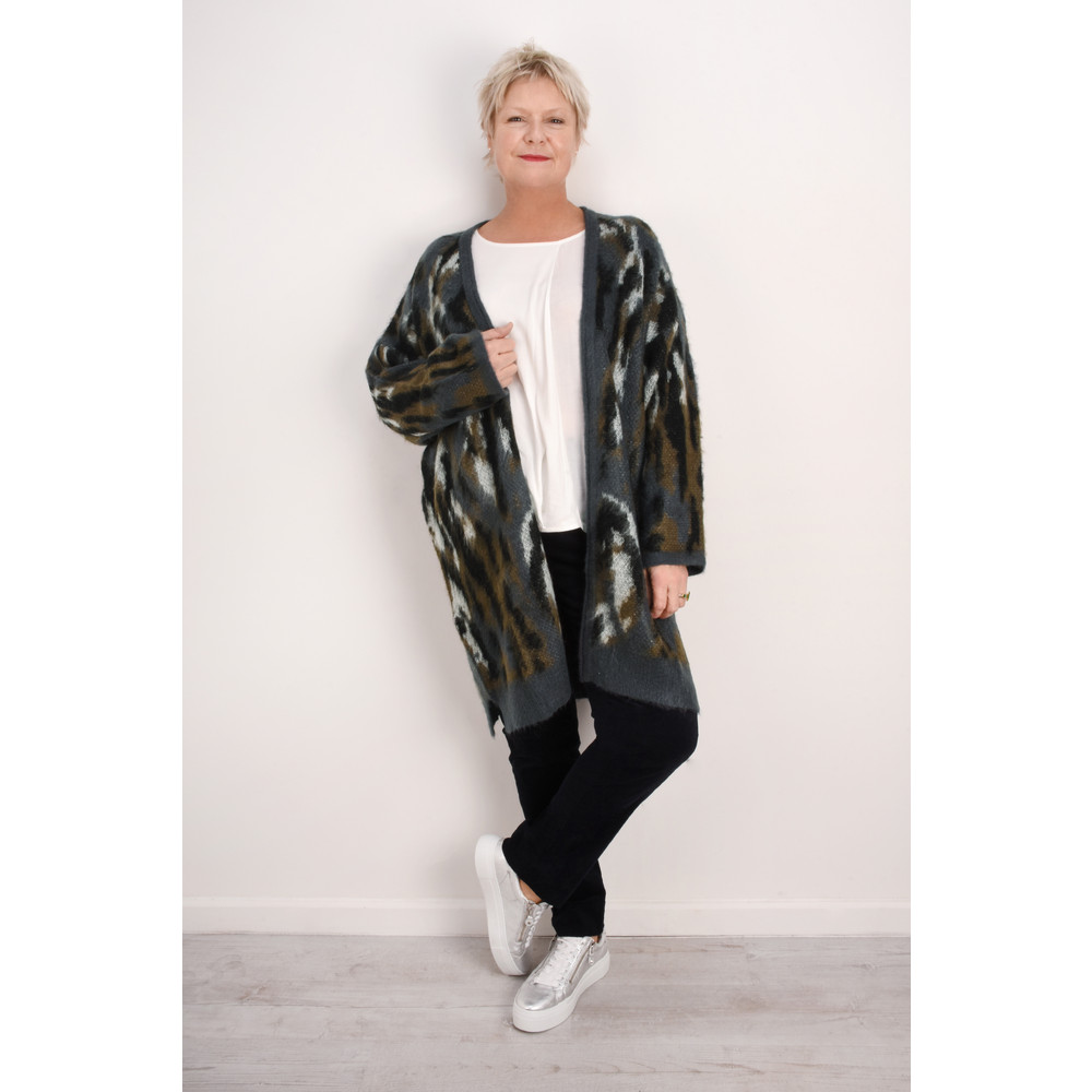 Sandwich Outlet  Open Mohair Chunky Knit Cardigan Graphite