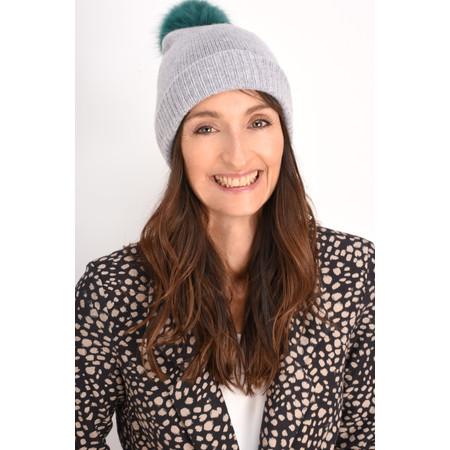 Helen Moore Cashmere Faux Fur Pom Pom Beanie - Grey