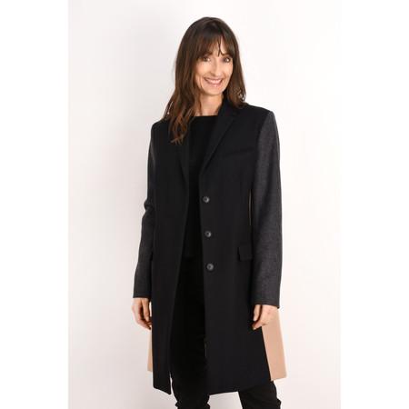 French Connection Platform Felt Colour block Coat - Black