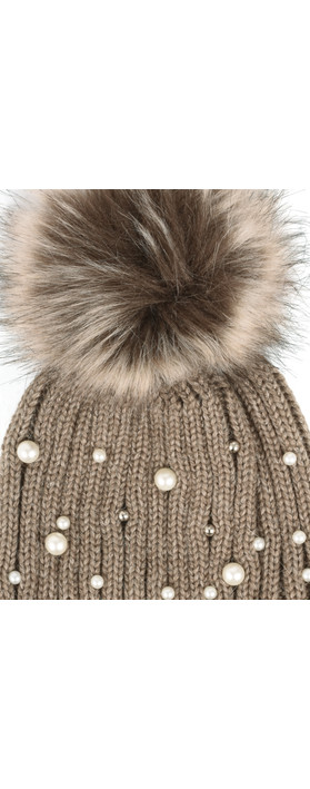 RINO AND PELLE Bobble Hats with Pearls Taupe