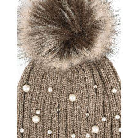 RINO AND PELLE Bobble Hats with Pearls - Brown