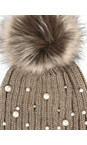 RINO AND PELLE Taupe Bobble Hats with Pearls