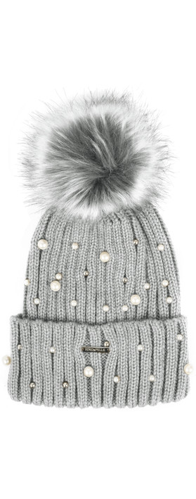 RINO AND PELLE Bobble Hats with Pearls Grey