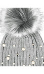 RINO AND PELLE Grey Bobble Hats with Pearls