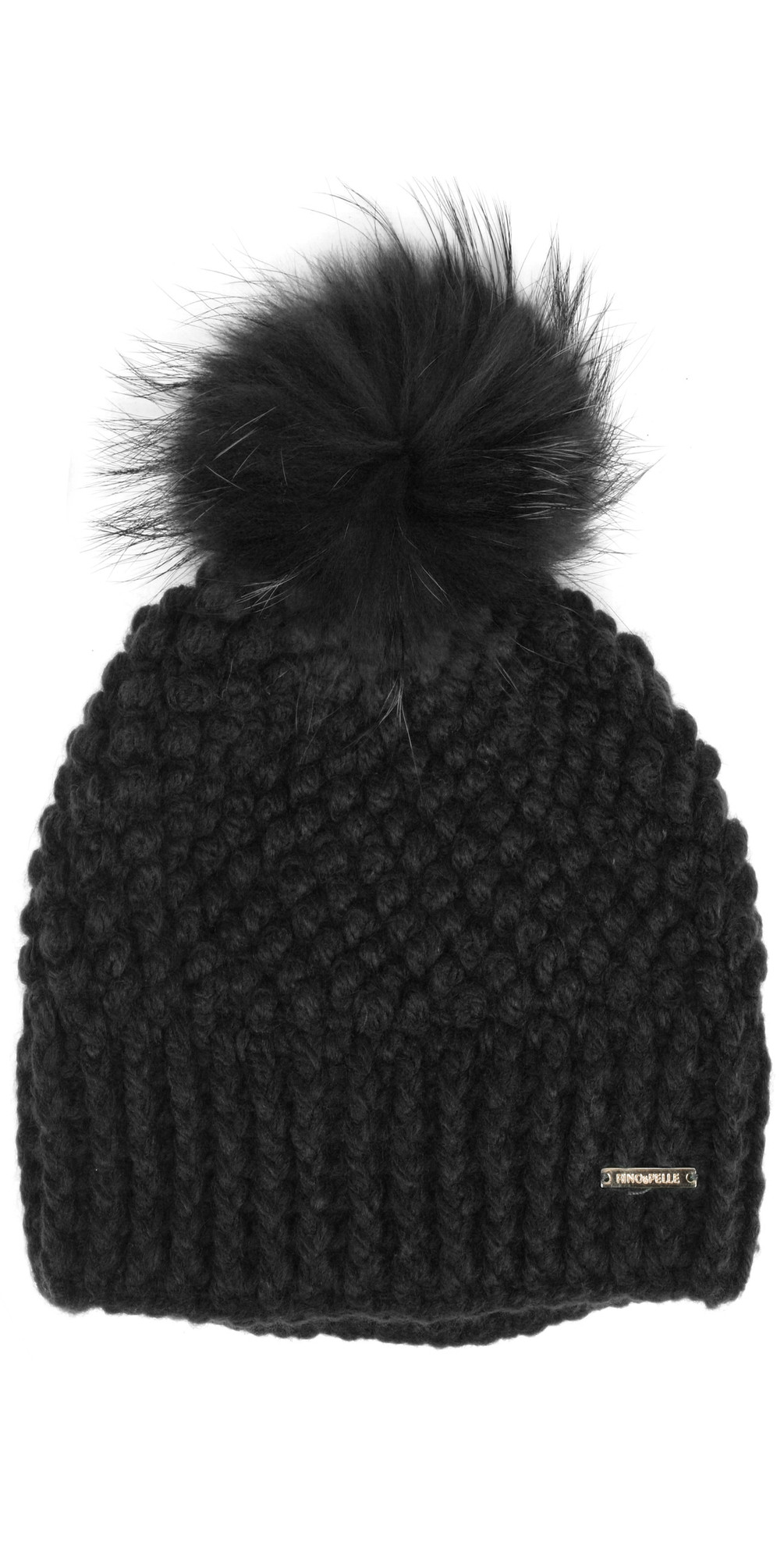RINO AND PELLE Kevina Bobble Hat in Black 61d566d050d