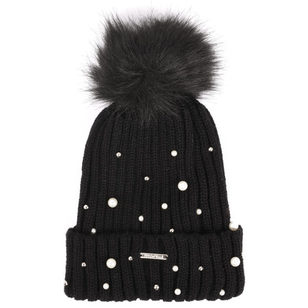 RINO AND PELLE Bobble Hats with Pearls - Black