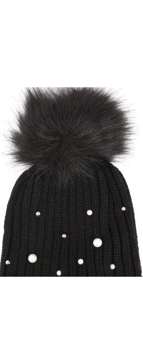 RINO AND PELLE Bobble Hats with Pearls Black