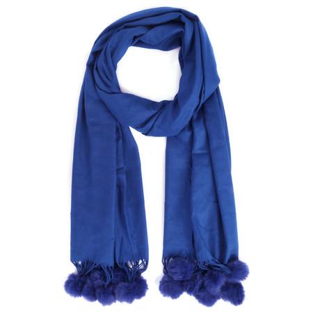 Butterfly Hudie Penny Pom Shawl Scarf - Blue