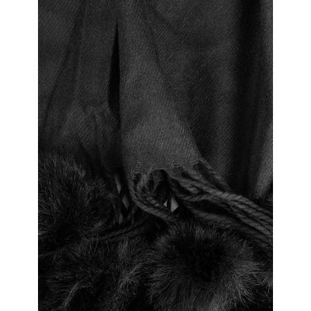Butterfly Hudie Penny Pom Shawl Scarf - Black