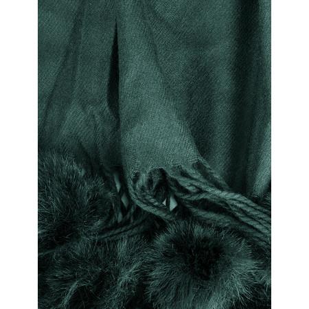 Butterfly Hudie Penny Pom Shawl Scarf - Green