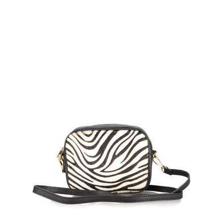 Gemini Label Bags Pinkie Leather Animal Print Bag - Black