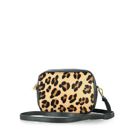 Gemini Label  Pinkie Leather Animal Print Bag - Beige